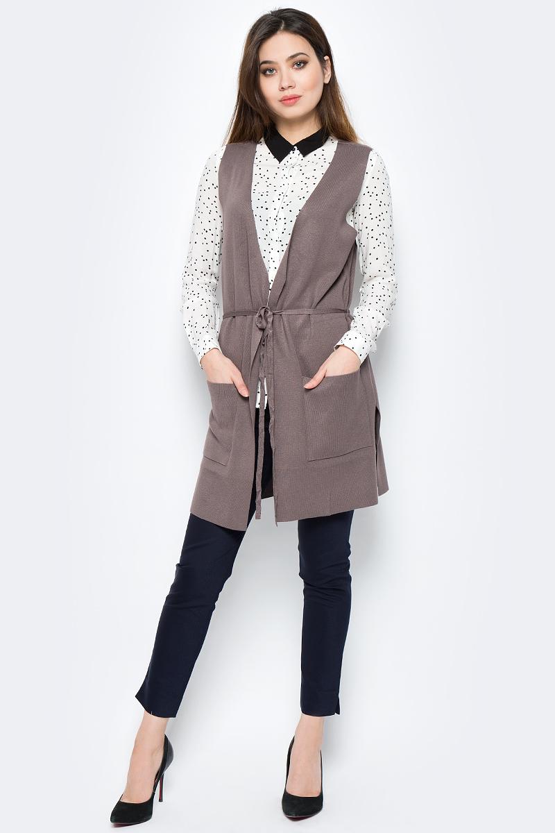 Фото Жилет женский Sela, цвет: серо-коричневый. Vsw-114/1075-8121. Размер L (48)