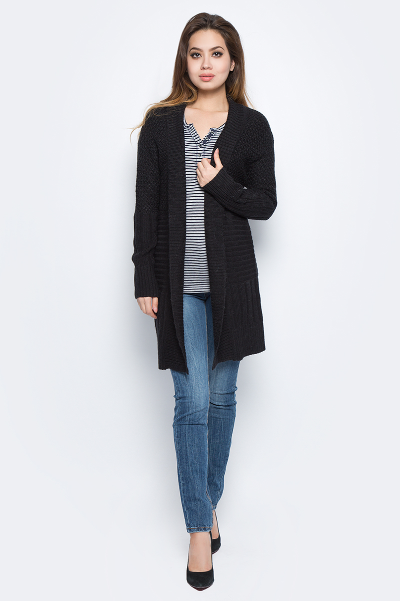 Фото Кардиган женский Baon, цвет: черный. B147508_Black. Размер XL (50)