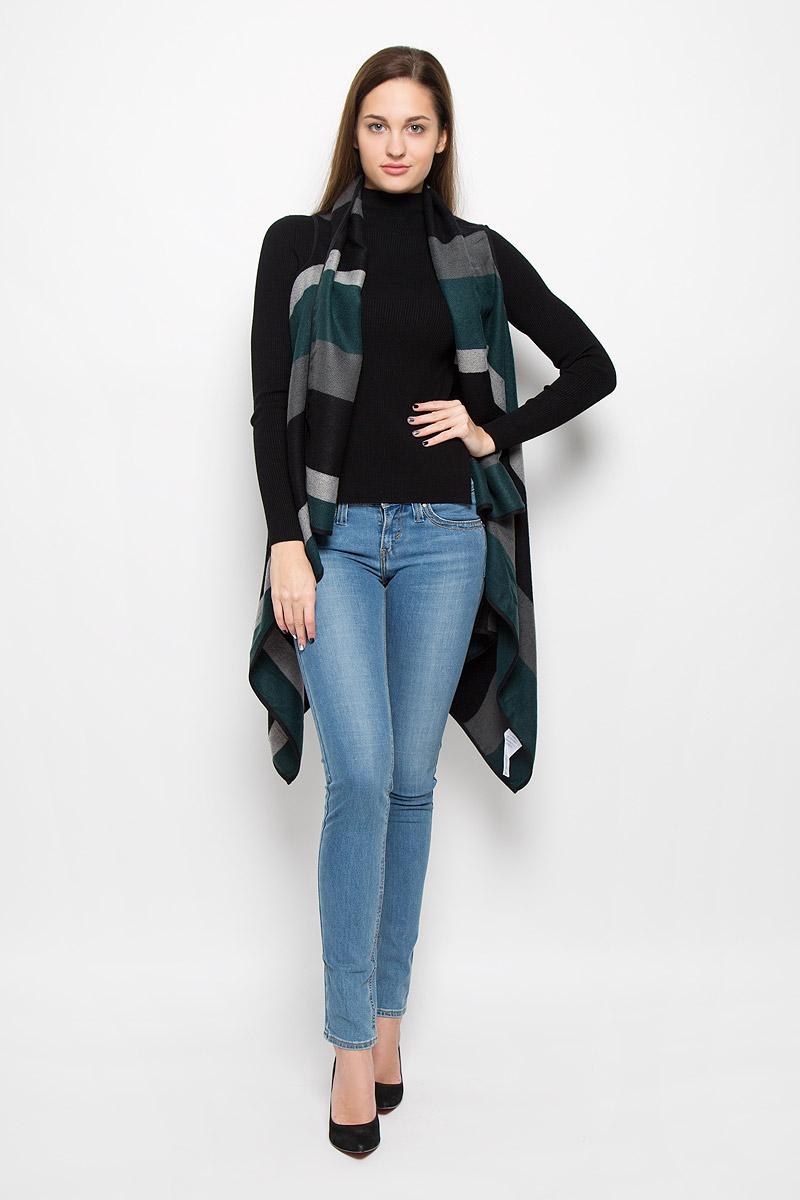 Кардиган женский Vero Moda, цвет: темно-зеленый, серый, черный. 10157237. Размер S (42) палантин женский vero moda цвет темно синий 10137899 размер универсальный