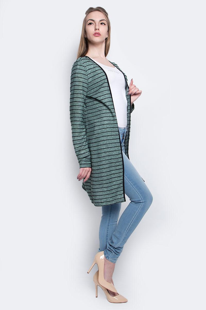 Кардиган женский Vero Moda, цвет: черный, серо-зеленый. 10169341. Размер XS (40)