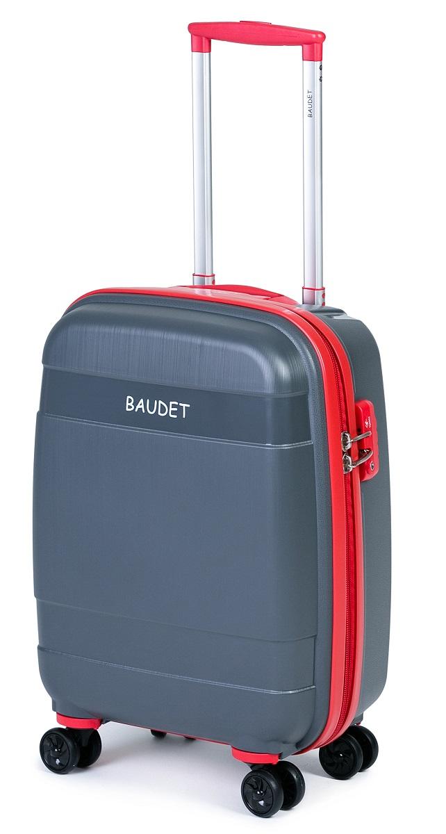 """Чемодан пластиковый на 4-х колесах BAUDET, арт. BHL0708802-48, """"S"""". Чемодан выполнен из полипропилена - материала, обладающего высокой  ударопрочностью и стойкостью к механическим повреждениям. Внутри содержатся два больших отдела для хранения одежды с перекрещивающимися ремнями. Имеется внутренний карман на молнии для  документов.  Система двойных колес, вращающихся на 360°, равномерно распределяет нагрузку и позволяет легко катить чемоданы по любой твердой  поверхности. Колеса изготовлены из прорезиненного материала.  Чемодан оснащен кодовым замком TSA, который исключает возможность взлома. Отверстие для ключа в кодовом замке предназначено для  работников таможни (открытие багажа для досмотра без присутствия хозяина). Ключ находится только у таможни и в комплекте с чемоданом не  идет.  Телескопическая ручка выдвигается нажатием на кнопку и фиксируется в двух положениях. Сверху предусмотрена ручка для поднятия чемодана.  В данном размере, у этой модели отсутствует боковая ручка. Чемодан размера S  подходит под размер ручной клади большинства авиакомпаний. Высота корпуса чемодана: 50 см."""