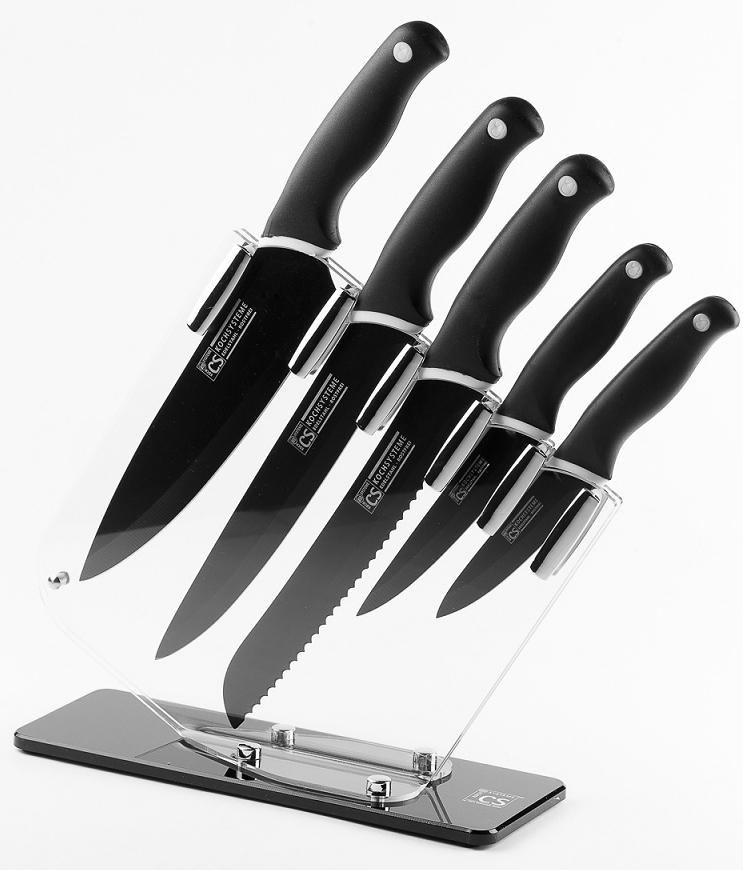 Набор кухонных ножей CS-Kochsysteme Holton, 6 предметов61906Набор ножей HOLTON в подарочной коробке изготовлен из высококачественной нержавеющей стали с антипригарным покрытием и эргономичной ручкой. Комплект включает в себя 6 наименований: универсальный нож 13 см, нож для хлеба 20 см, нож для нарезки 20 см, нож поварской 20 см, кухонный нож 9 см и акриловая подставка для ножей. Ножи можно затачивать традиционным способом. Пользоваться металлическими мочалками, абразивными чистящими средствами и средствами с хлором не рекомендуется. Мыть предметы из нержавеющей стали рекомендуется обычной губкой и жидким моющим средством. После мытья, чтобы избежать образования известкового налета, предметы из нержавеющей стали необходимо насухо вытирать мягкой впитывающей тканью.