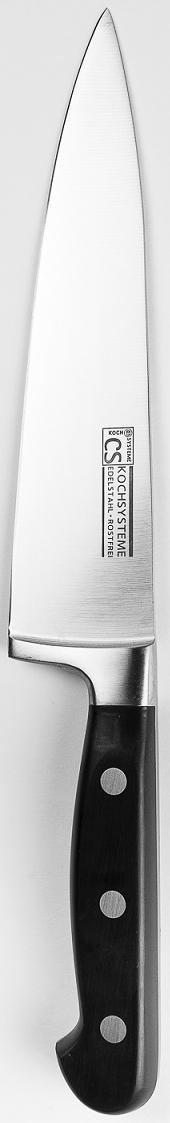 Нож-шеф CS-Kochsysteme Premium, цвет: серебристый, длина лезвия 20 см3104Нож-шеф Premium в блистере изготовлен из высококачественной нержавеющей стали с эргономичной ручкой. Длина лезвия: 20 см. Нож можно затачивать традиционным способом. Пользоваться металлическими мочалками, абразивными чистящими средствами и средствами с хлором не рекомендуется. Мыть предметы из нержавеющей стали рекомендуется обычной губкой и жидким моющим средством. После мытья, чтобы избежать образования известкового налета, предметы из нержавеющей стали необходимо насухо вытирать мягкой впитывающей тканью.