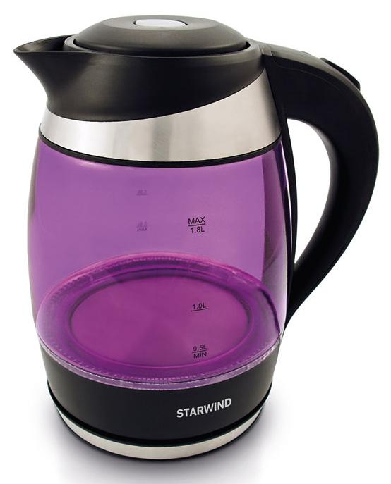 Starwind SKG2217 , Purple Black чайник электрическийSKG2217Чайник Starwind SKG2217 1.8л. 2200Вт фиолетовый/черный (стекло)