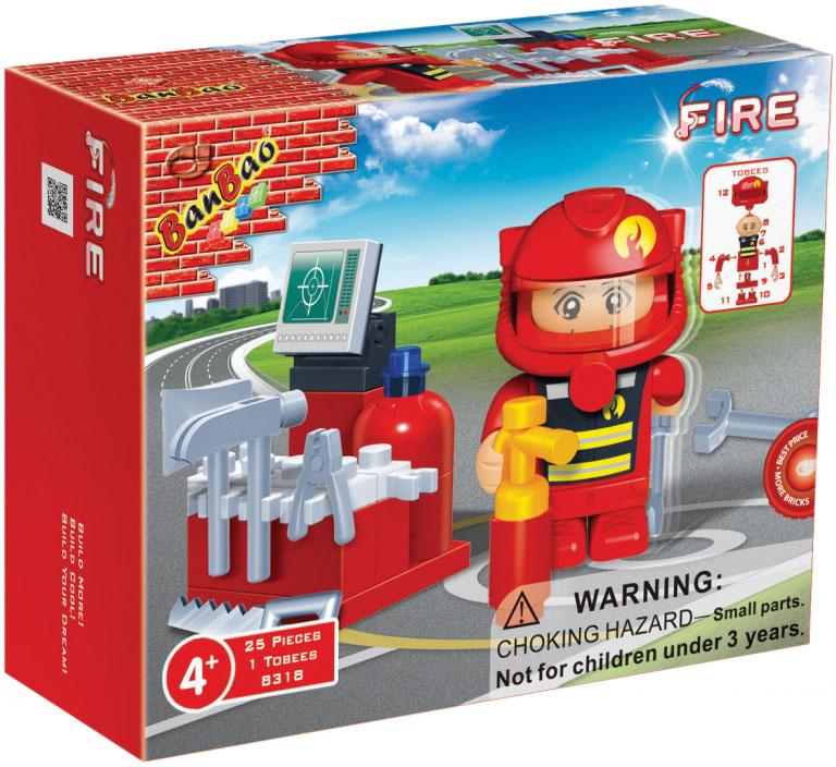 BanBao Конструктор Пожарный 25 деталей конструктор banbao пожарный джип 158 элементов 8299
