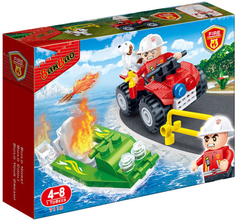 BanBao Конструктор Пожарный джип 62 детали конструктор banbao пожарный джип 158 элементов 8299