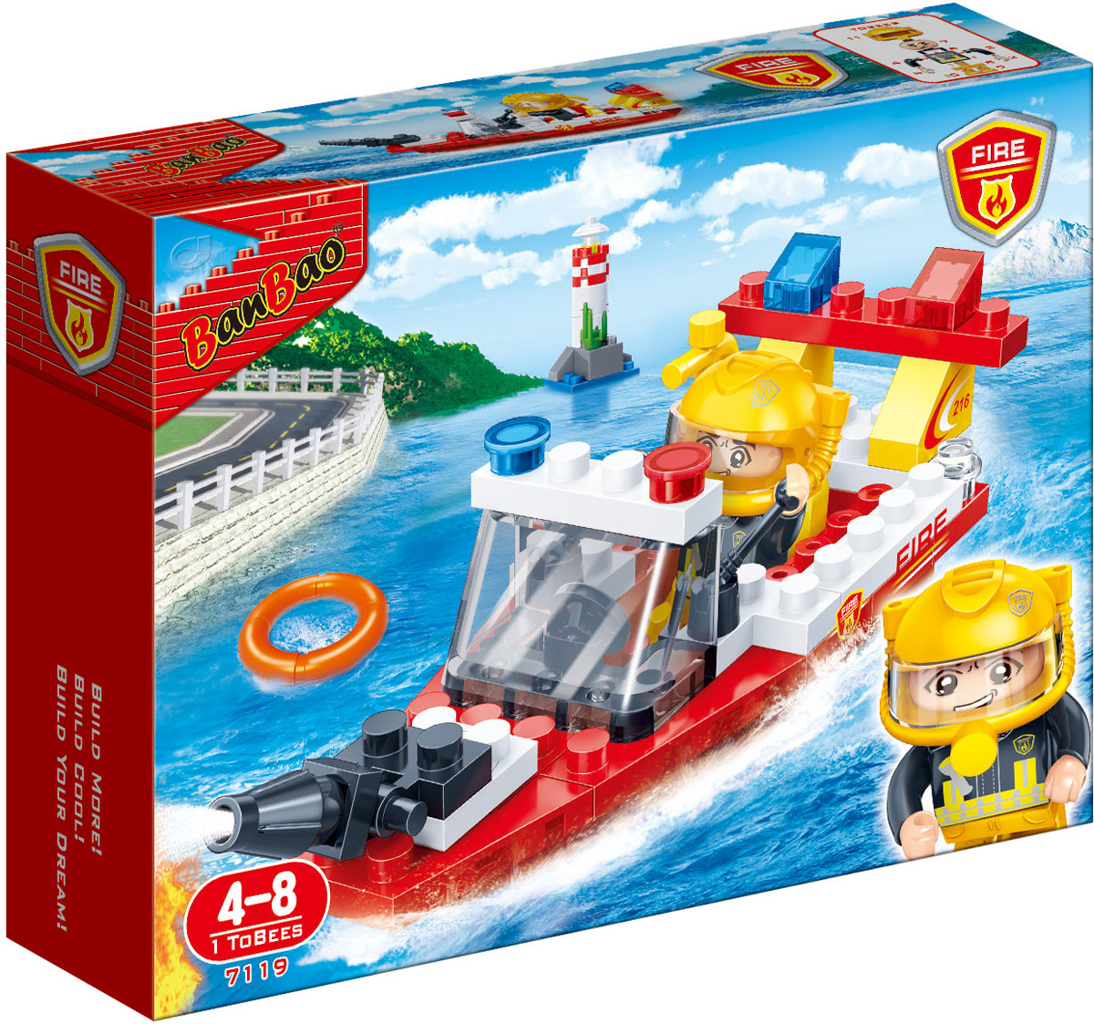 BanBaoКонструктор Пожарный катер 62 детали