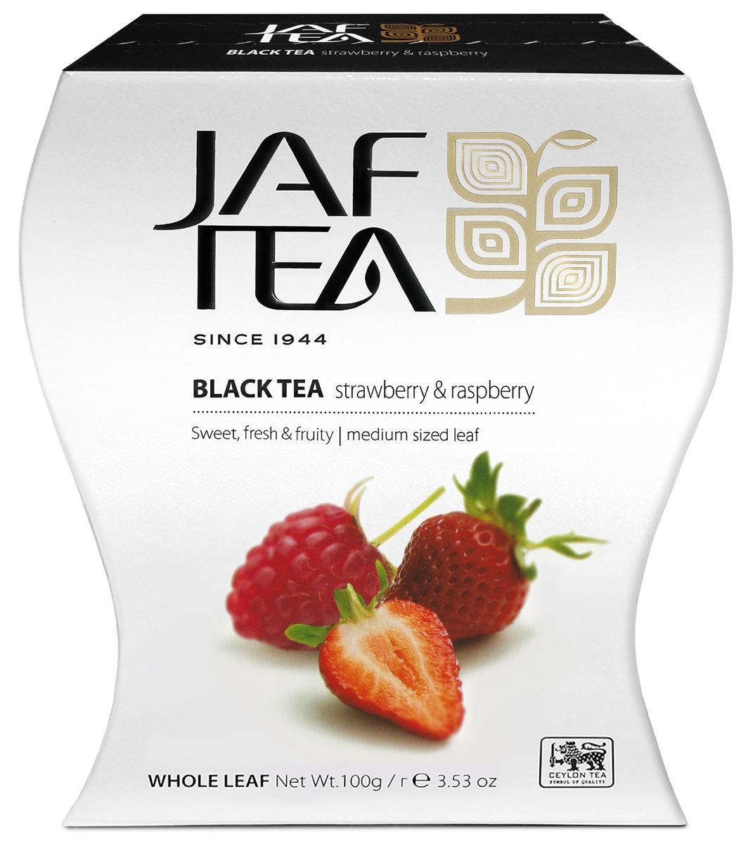 Jaf Tea PC Strawberry & Raspberry чай черный крупнолистовойс ароматом клубники и малины, 100 г baron французские трюфели с кусочками малины 100 г