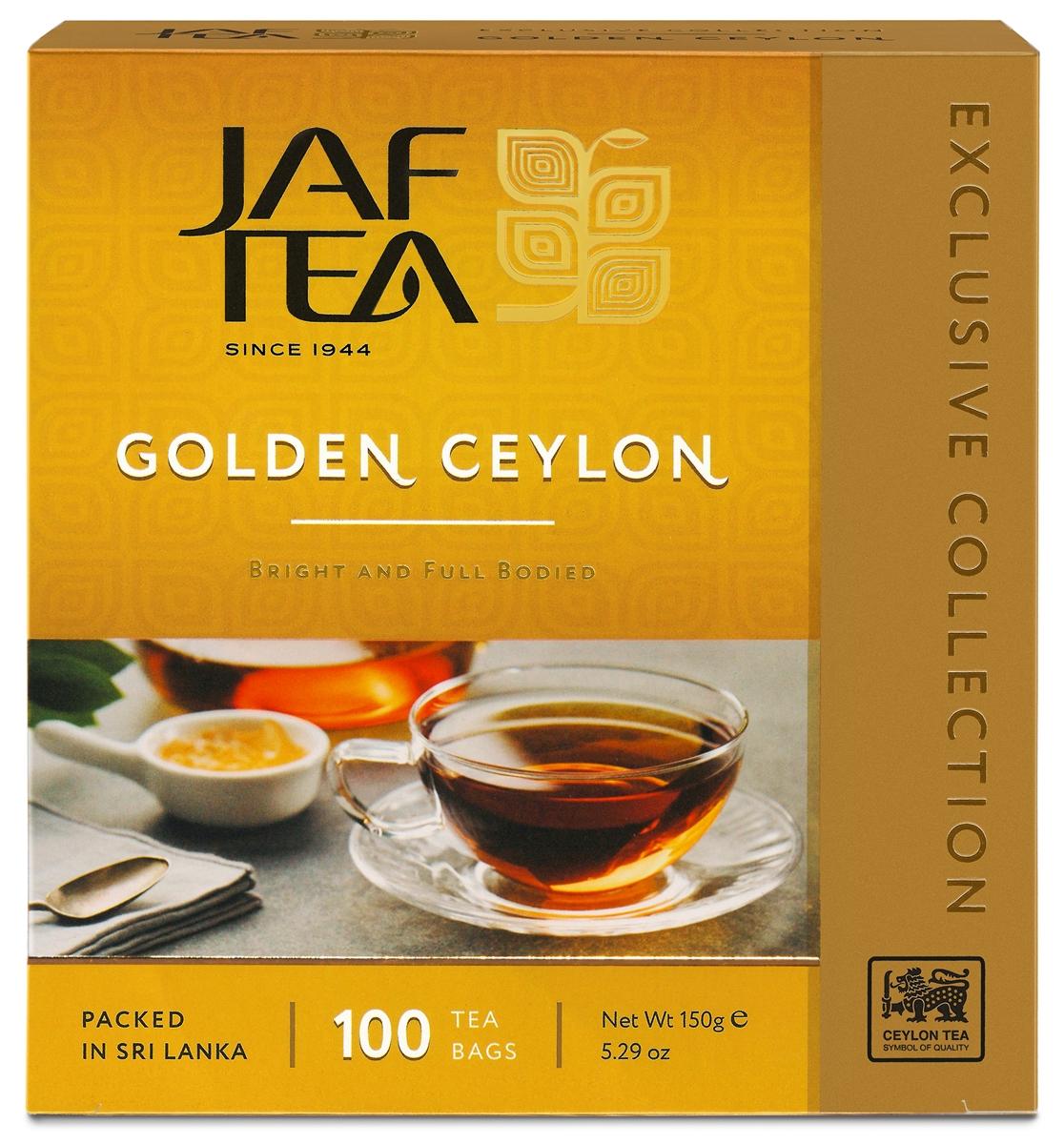 Jaf Tea Golden Ceylon чай черный в пакетиках, 100 шт danker ceylon estate чай черный цейлонский мелкий в пакетиках 100 шт