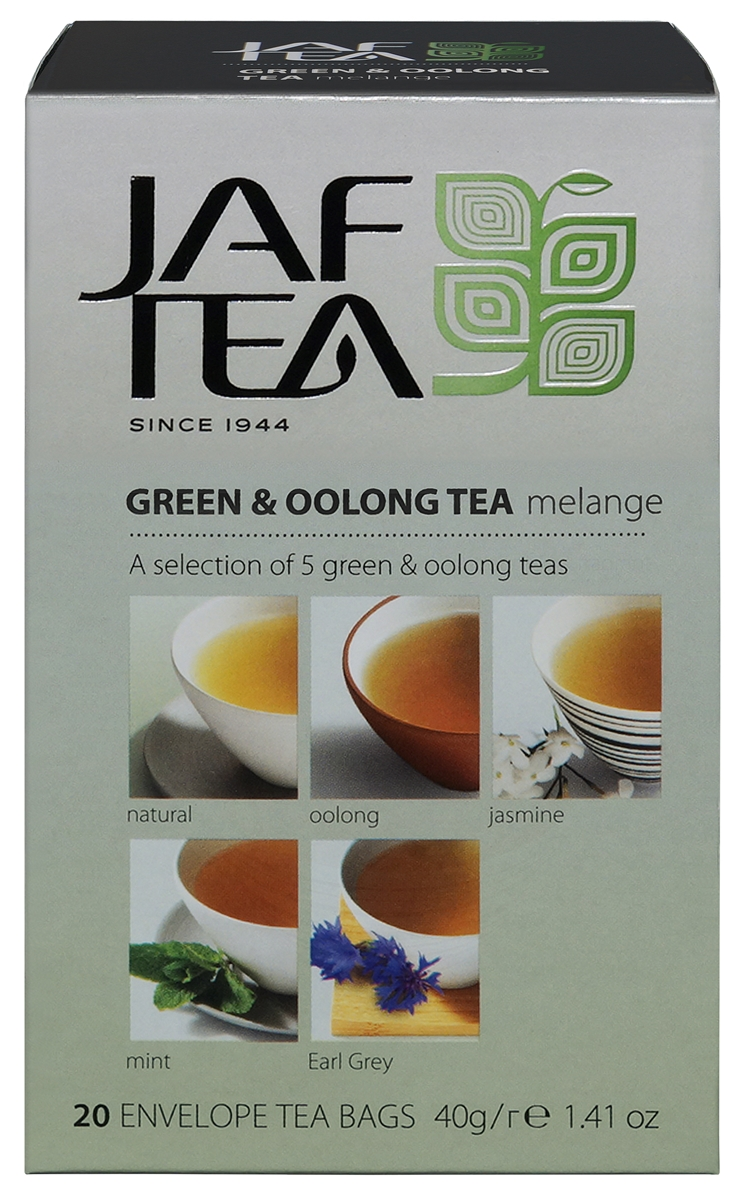 Jaf Tea Oolong melange и Оолонг ассорти чай зеленый в пакетиках 5 видов, 20 шт chinese oolong tea 9gx5cps anxi tieguanyin loose tea tikuanyin oolong green tie guan yin tea 1752 organic slimming tea