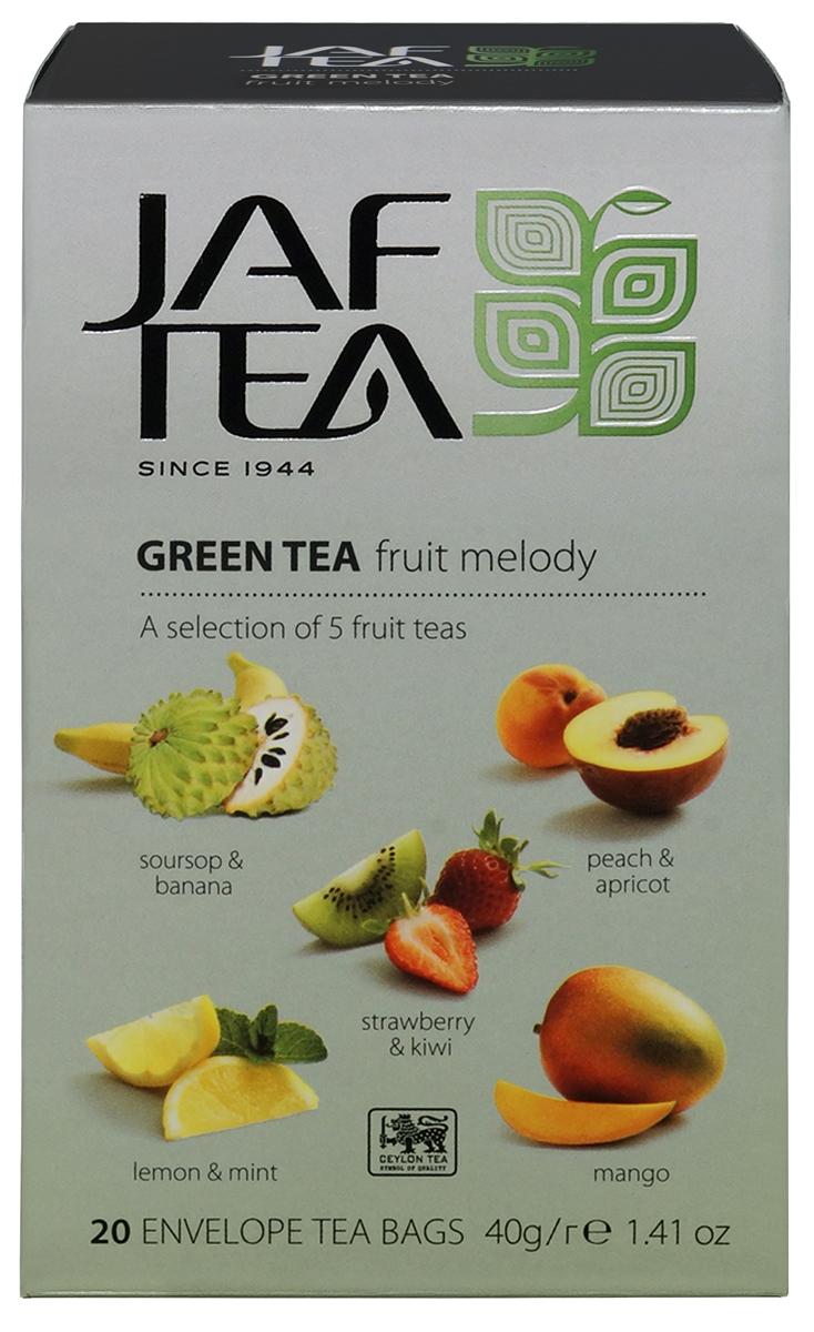 Jaf Tea Green Fruit Melody ассорти чай зеленый в пакетиках 5 видов, 20 шт diplomat green tea classic blend зеленый чай в пакетиках 100 шт