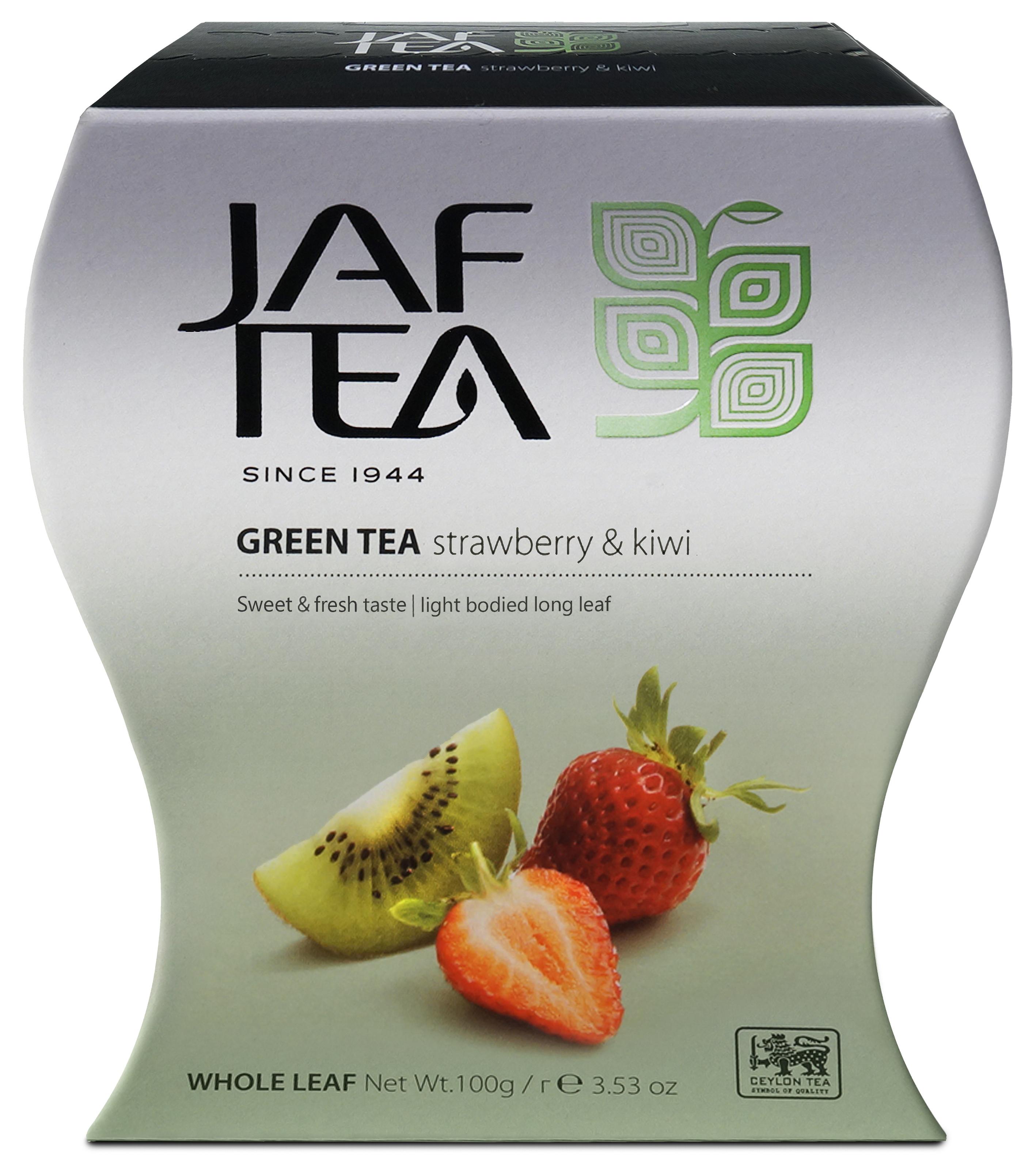 Jaf Tea Green Strawberry Kiwi чай зеленый с клубникой и киви, 100 г teacher карельский чай цветочно травяной купаж 500 г