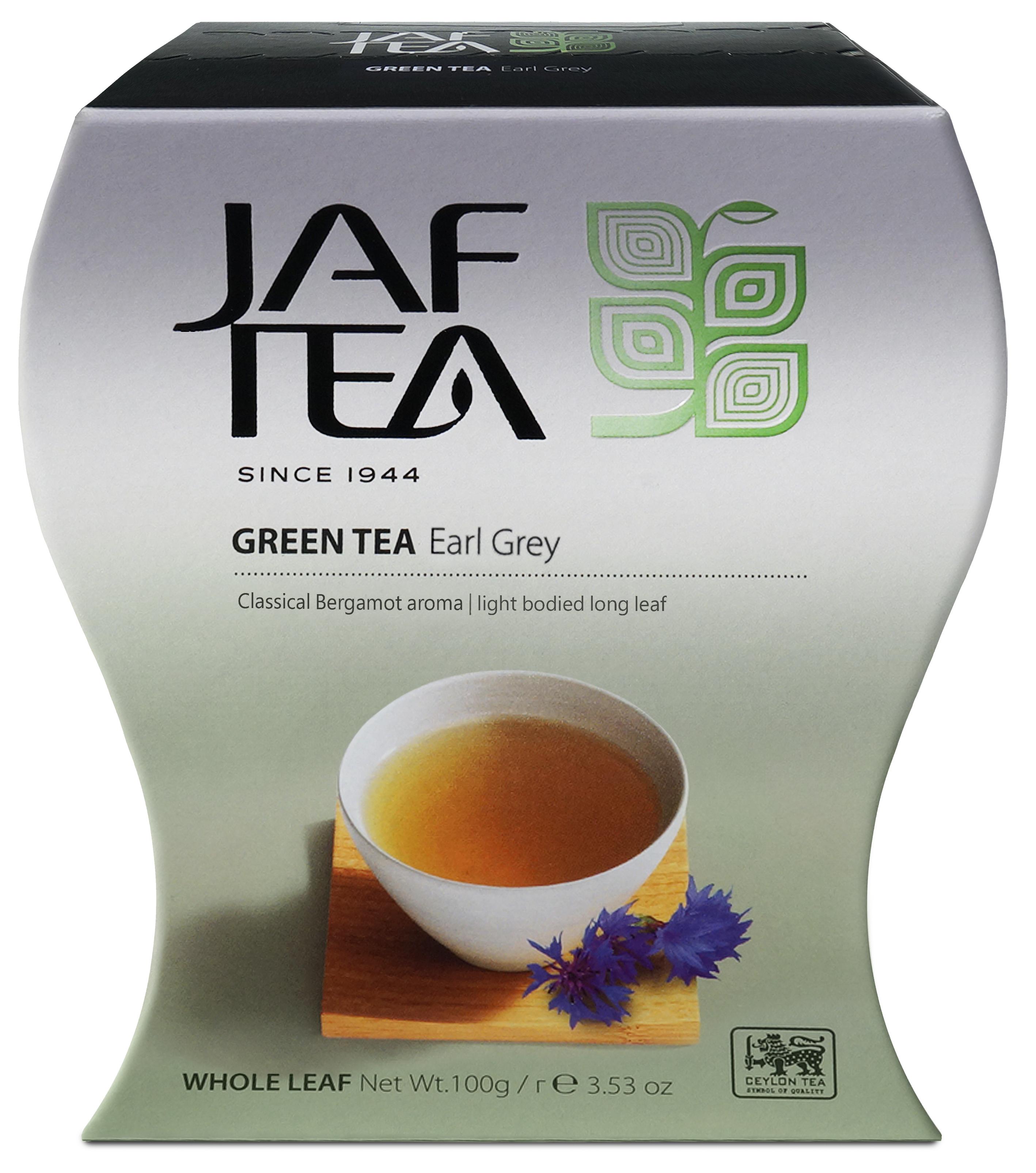 Jaf Tea Green Earl Grey чай зеленый листовой с ароматом бергамота , 100 г jaf tea earl grey classic чай черный в пакетиках 25 шт