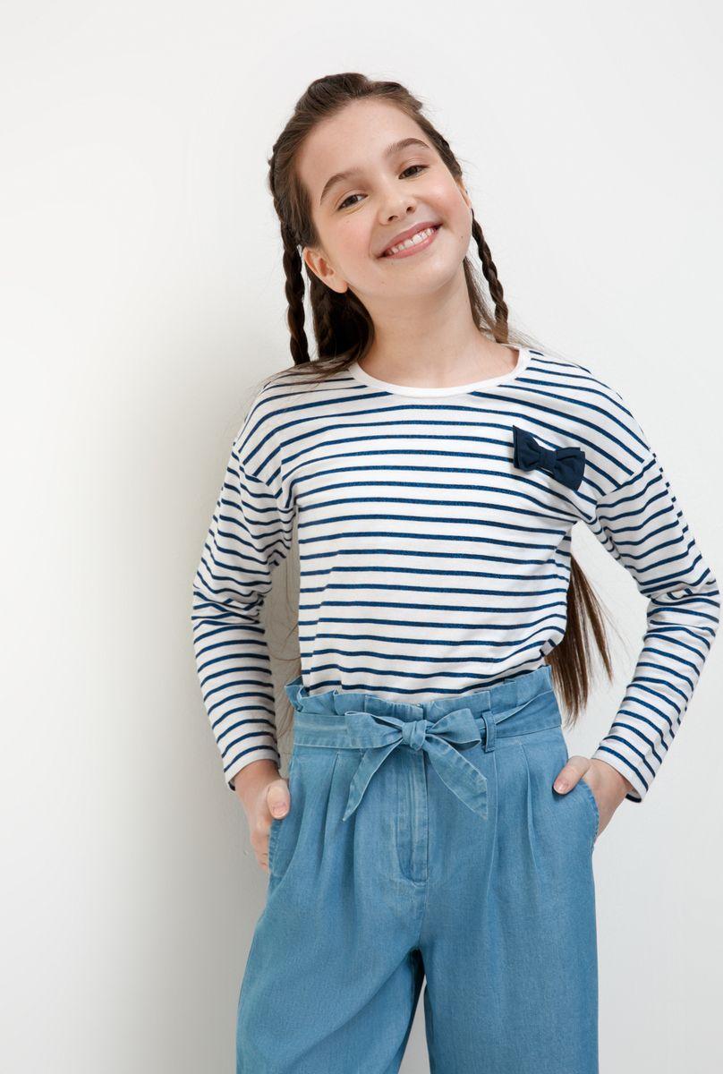 Футболка с длинным рукавом для девочки Acoola Nen, цвет: белый, синий. 20210100174_4400. Размер 164 футболка для девочки acoola aldan цвет белый 20214220019 200 размер 164