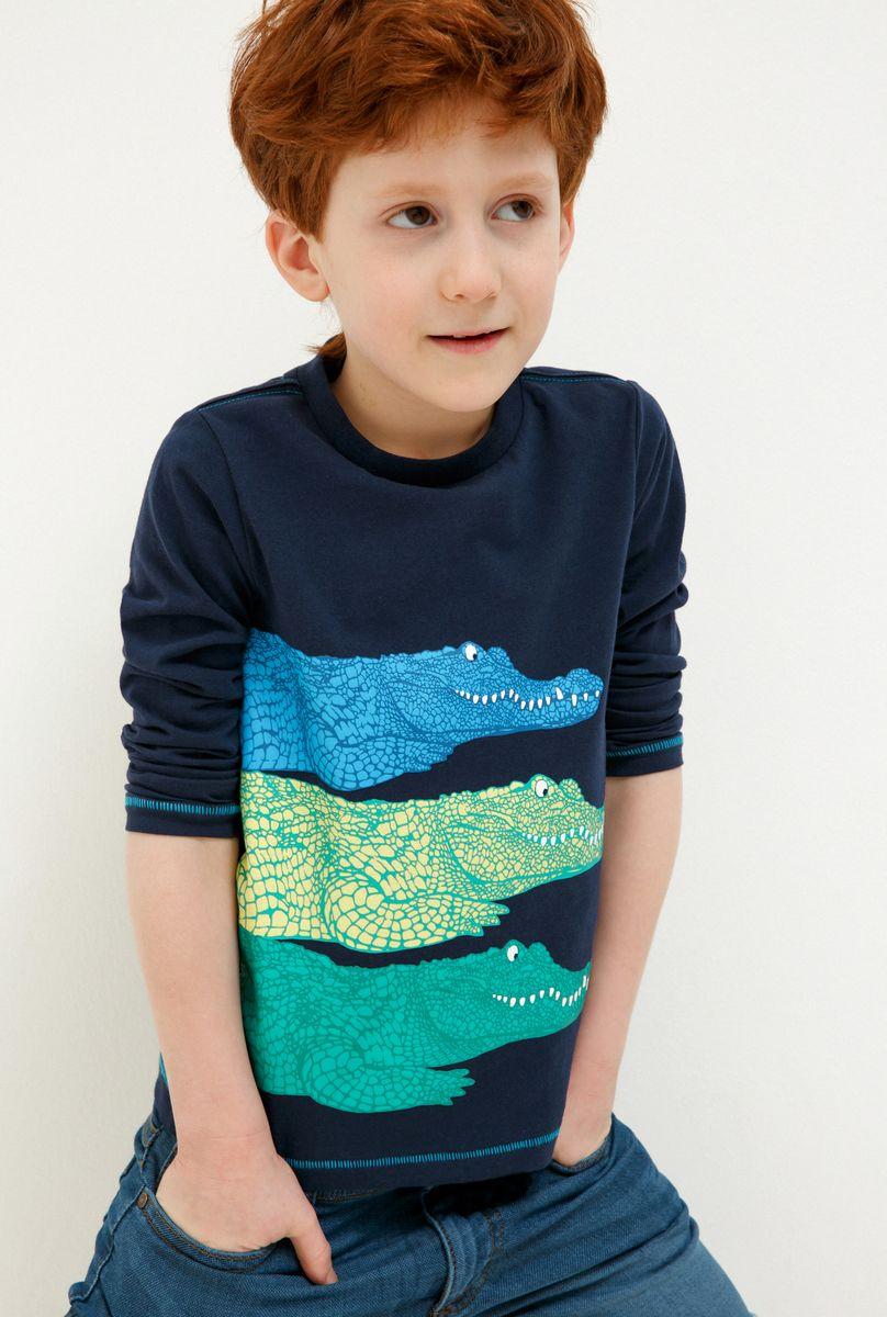 Футболка с длинным рукавом для мальчика Acoola Fitzgerald, цвет: темно-синий. 20120170043_600. Размер 128 жакет для мальчика acoola sega цвет синий 20120130114 500 размер 128