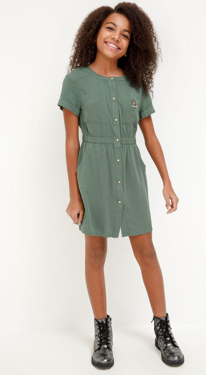 Платье для девочки Acoola Ceiba, цвет: зеленый. 20210200230_2300. Размер 158 джемперы acoola джемпер для девочек в полоску из люрекса цвет ассорти размер 158 20210100174