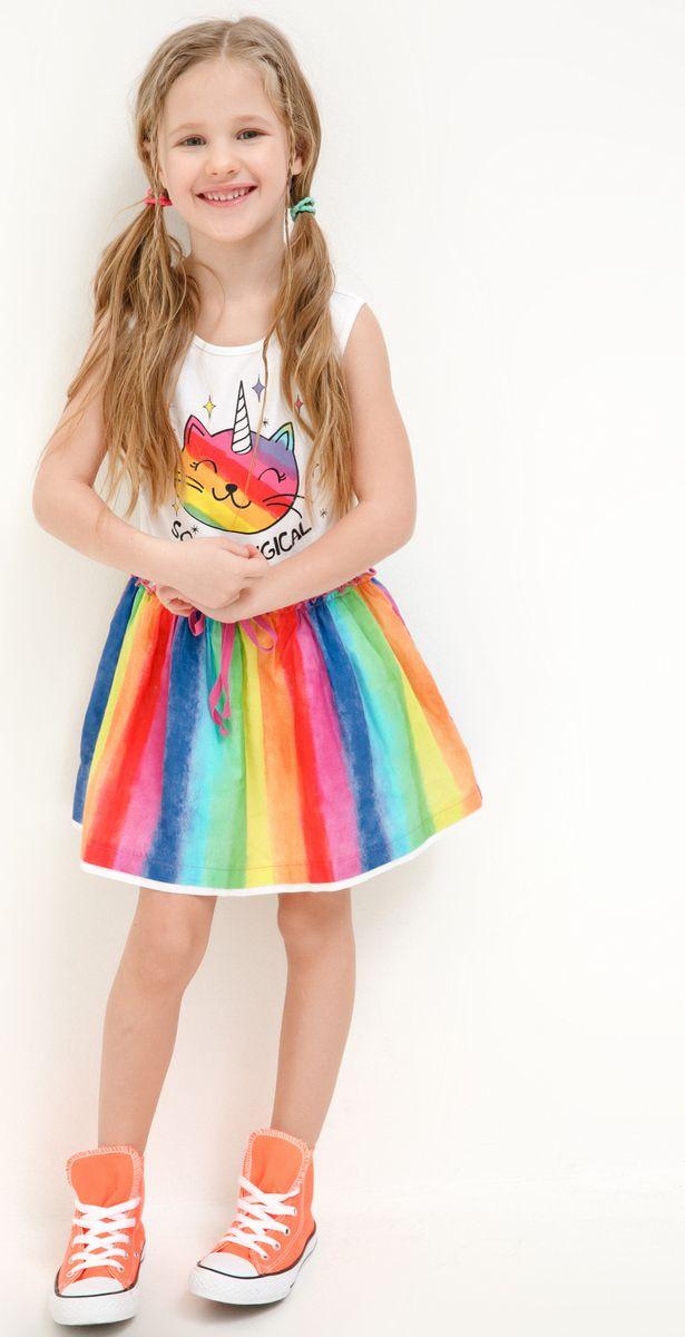 Платье для девочки Acoola Narmada, цвет: мультиколор. 20220200260_4400. Размер 9220220200260_4400Стильное платье Acoola для девочки позволит создать яркий летний образ для вашей маленькой модницы! Модель с круглым вырезом горловины выполнена из натурального хлопка. В таком платье ваша принцесса будет самая нарядная и модная.