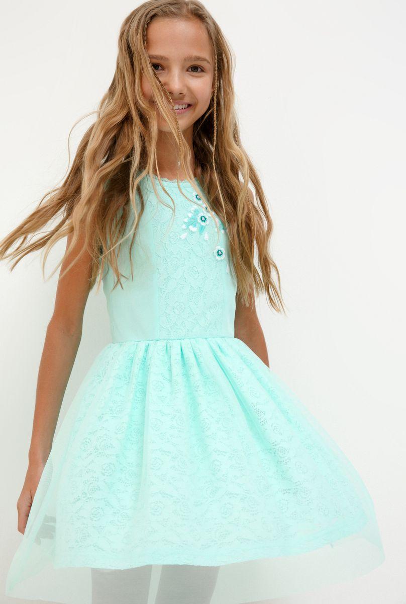 Платье для девочки Acoola Togus, цвет: светло-бирюзовый. 20210200233_9300. Размер 164 платье overmoon by acoola overmoon by acoola ov003eguci55