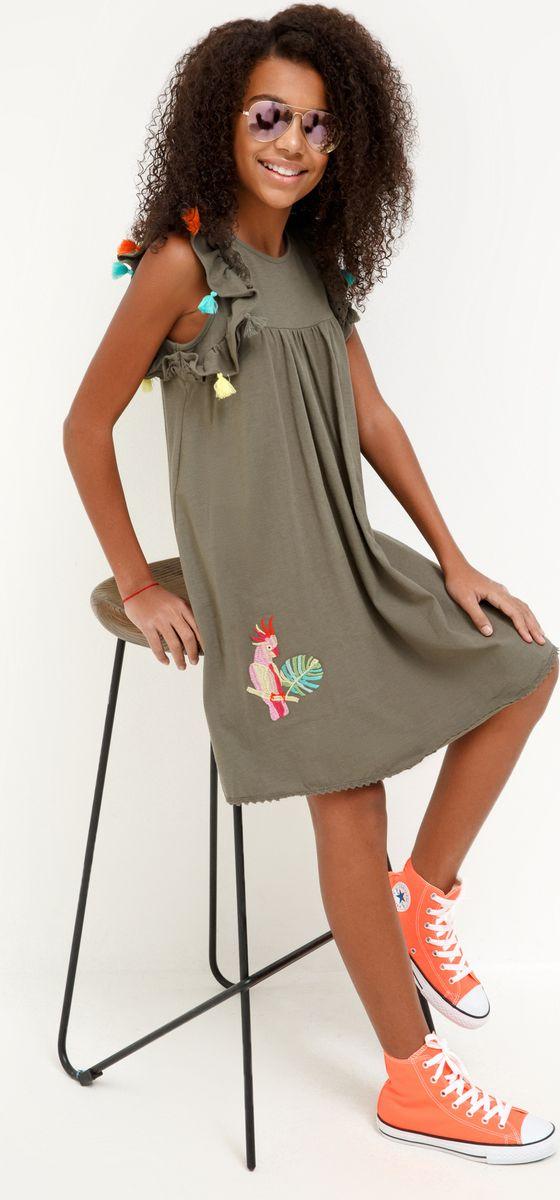 Платье для девочки Acoola Wu, цвет: хаки. 20210200234_2100. Размер 164 платье overmoon by acoola overmoon by acoola ov003eguci55