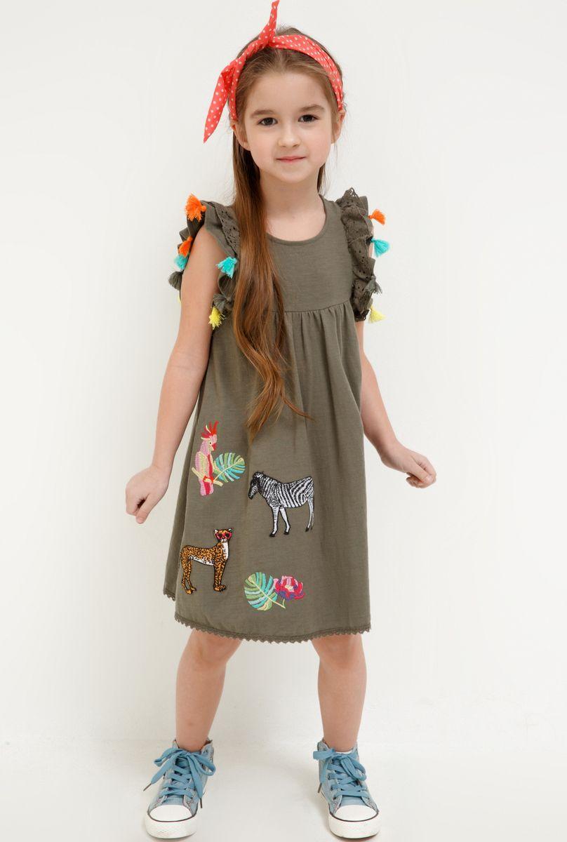 Платье для девочки Acoola Wu, цвет: хаки. 20220200257_2100. Размер 92 платье overmoon by acoola overmoon by acoola ov003eguci55