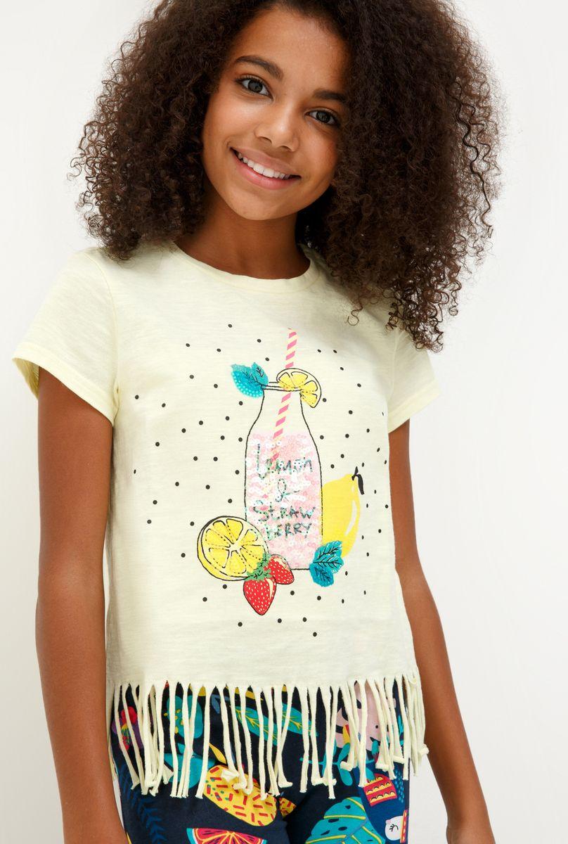 Футболка для девочки Acoola Iriri, цвет: желтый. 20210110132_1200. Размер 164 футболка для девочки acoola aldan цвет белый 20214220019 200 размер 164