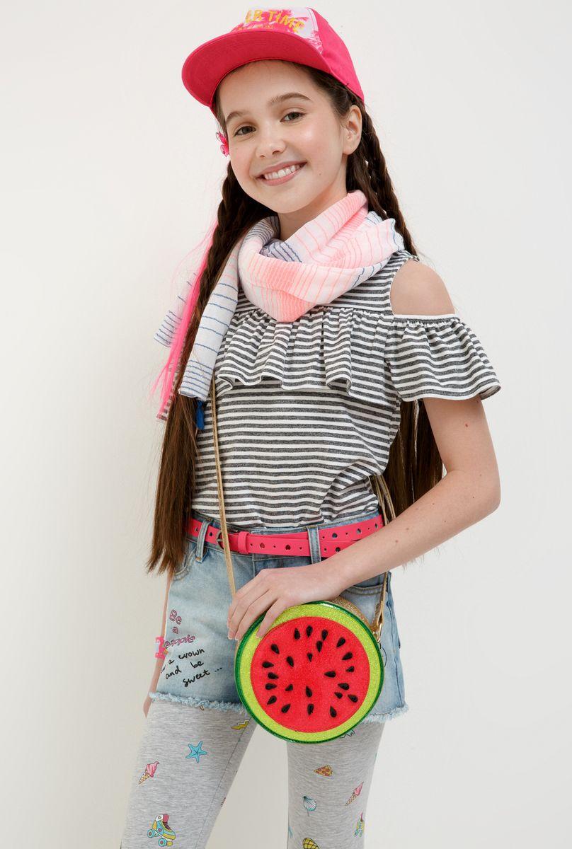 Футболка для девочки Acoola Ishim, цвет: серый, белый. 20214220020_4400. Размер 134 футболка для девочки acoola aldan цвет белый 20214220019 200 размер 164