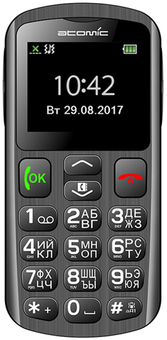 Atomic G2001, Black808Atomic G2001 - Мобильный телефон Atomic G2001 очень удобен в использовании за счет применения больших кнопок и громкого динамика. Он позволяет безошибочно набирать нужный номер в любых обстоятельствах или мгновенно отправлять сигнал тревоги при нажатии клавиши SOS. В комплекте с телефоном поставляется зарядный стакан, с помощью которого телефон всегда будет заряжен. Также телефон оснащен FM-radio, фонариком.