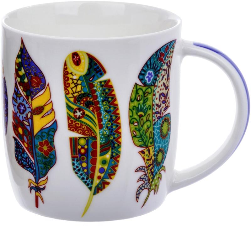 Кружка Liling Quanhu Сказочные джунгли. Цветные перья, 355 мл кружки из императорского фарфора купить в спб