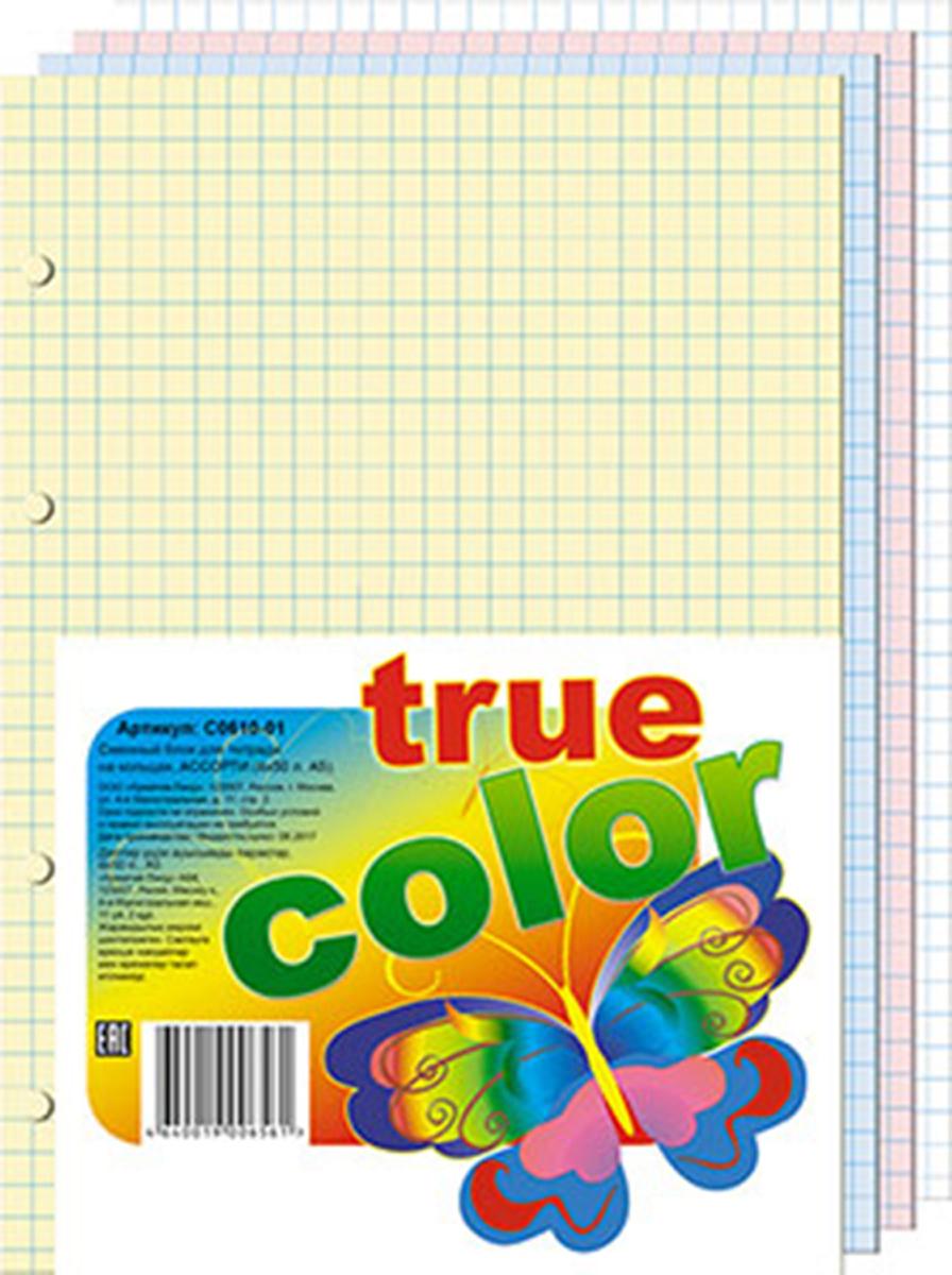 Апплика Блок сменный для тетрадей на кольцах 200 листов 4 цвета апплика цветная бумага тонированная цвет сиреневый 10 листов