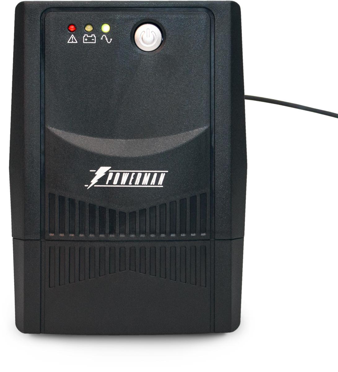 Источник бесперебойного питания Powerman UPS Вack Pro 600 Plus, 600 ВА1193077POWERMAN Back Pro 600 Plus - линейно-интерактивный ИБП мощностью 600ВА. Обеспечит надежную защиту ПК, рабочей станции, небольшого сервера, коммуникационного оборудования либо другой нагрузки небольшой мощности с импульсным блоком питания при полном отключении электросети, а также при работе сети с отклонениями от нормы: пониженным либо повышенным уровнем напряжения, наличием импульсных и высокочастотных помех.
