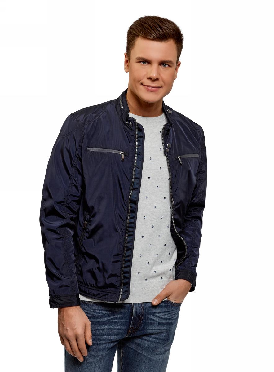 Куртка мужская oodji Lab, цвет: темно-синий. 1L514012M/46343N/7900N. Размер M (50-182)1L514012M/46343N/7900NУтепленная куртка от oodji выполнена из полиэстера с утеплителем из синтепона. Модель с длинными рукавами и воротником-стойкой застегивается на молнию, по бокам и на груди дополнена карманами на молниях.