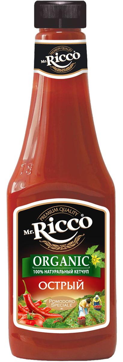 """В кетчупе Mr.Ricco """"Острый"""" гармонично сочетает в себе томаты и разные виды острых перцев. Специи, входящие в состав Mr.Ricco """"Острый"""" ORGANIC возбуждают аппетит, стимулируют выработку желудочного сока, и тем самым, нормализуют процессы переваривания пищи в организме. Острый кетчуп прекрасно сочетается со всеми блюдами из мяса, такими как стейки, пельмени, шашлыки - результат непременно порадует Вас превосходным вкусом!"""