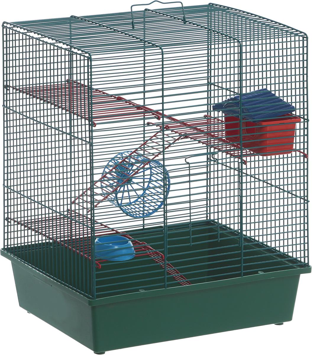 Клетка для грызунов Велес Lusy Hamster-4к, 4-этажная, цвет: зеленый, бирюзовый, 35 х 26 х 45 см клетка для грызунов i p t s mini с игровым комплексом 32 см х 20 см х 24 см