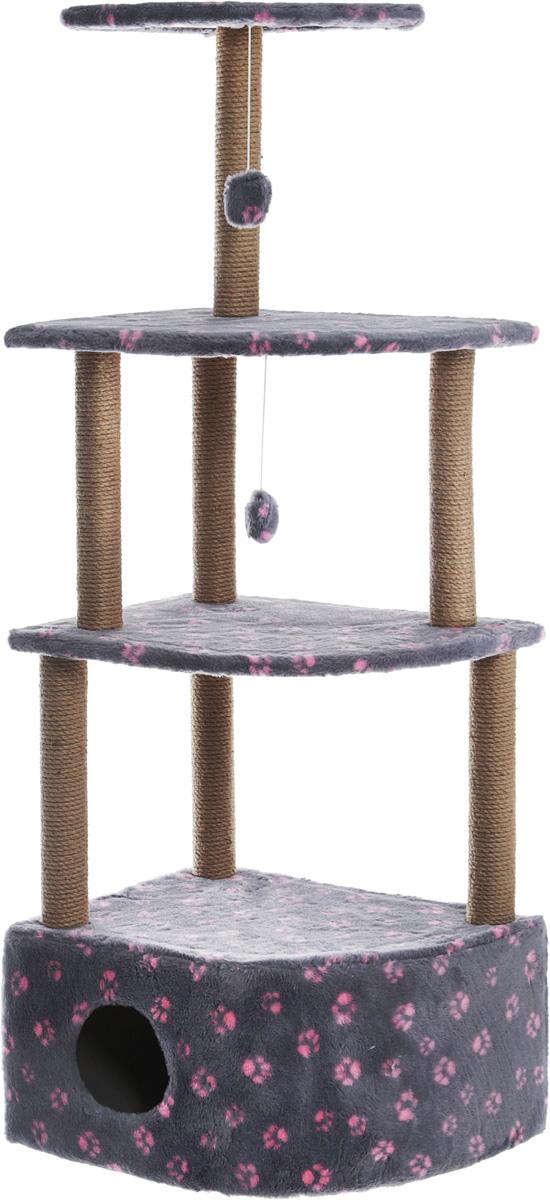 Домик-когтеточка Меридиан Лапки, угловой, 4-ярусный, цвет: серый, розовый, 55 х 48 х 158 см домик когтеточка меридиан квадратный 2 ярусный с игрушкой цвет белый черный бежевый 50 х 36 х 75 см