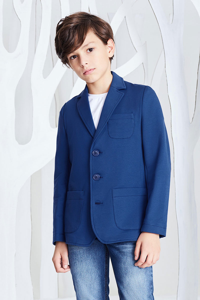 Фото Пиджак для мальчика Смена, цвет: темно-синий. 16с217. Размер 116/122