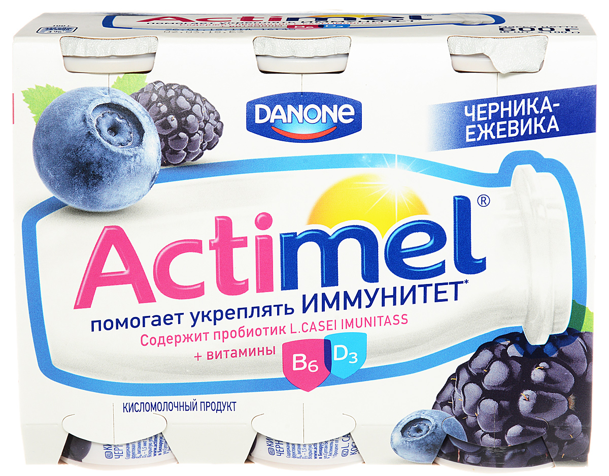 Актимель Продукт кисломолочный, Черника-ежевика 2,5%, 6 шт по 100 г актимель продукт кисломолочный детский клубника банан 2 5