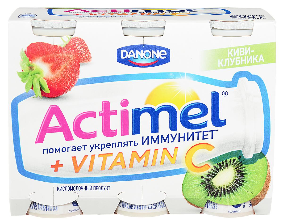 Актимель Продукт кисломолочный, Киви-клубника 2,5%, 6 шт по 100 г актимель продукт кисломолочный детский клубника банан 2 5