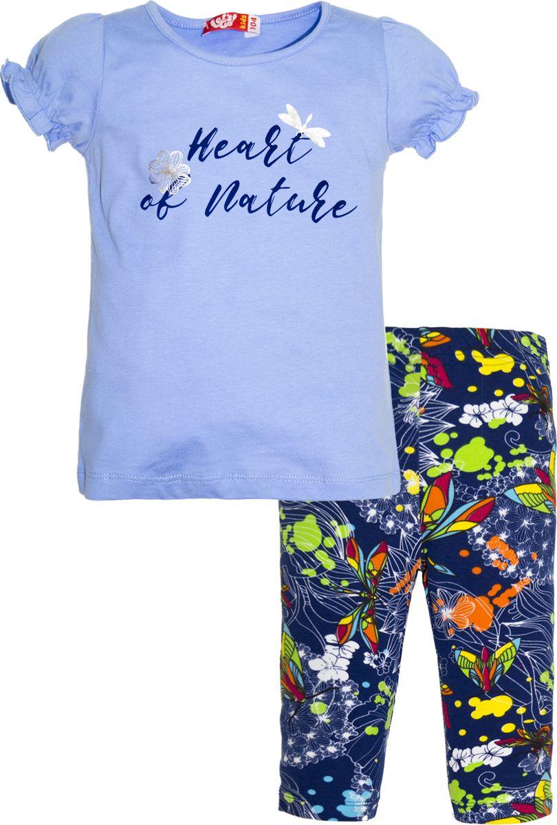 Комплект одежды для девочки Let's Go: футболка, бриджи, цвет: голубой, темно-синий. 4134. Размер 98 комплект одежды для девочки let s go футболка бриджи цвет лиловый фиолетовый 4132 размер 74