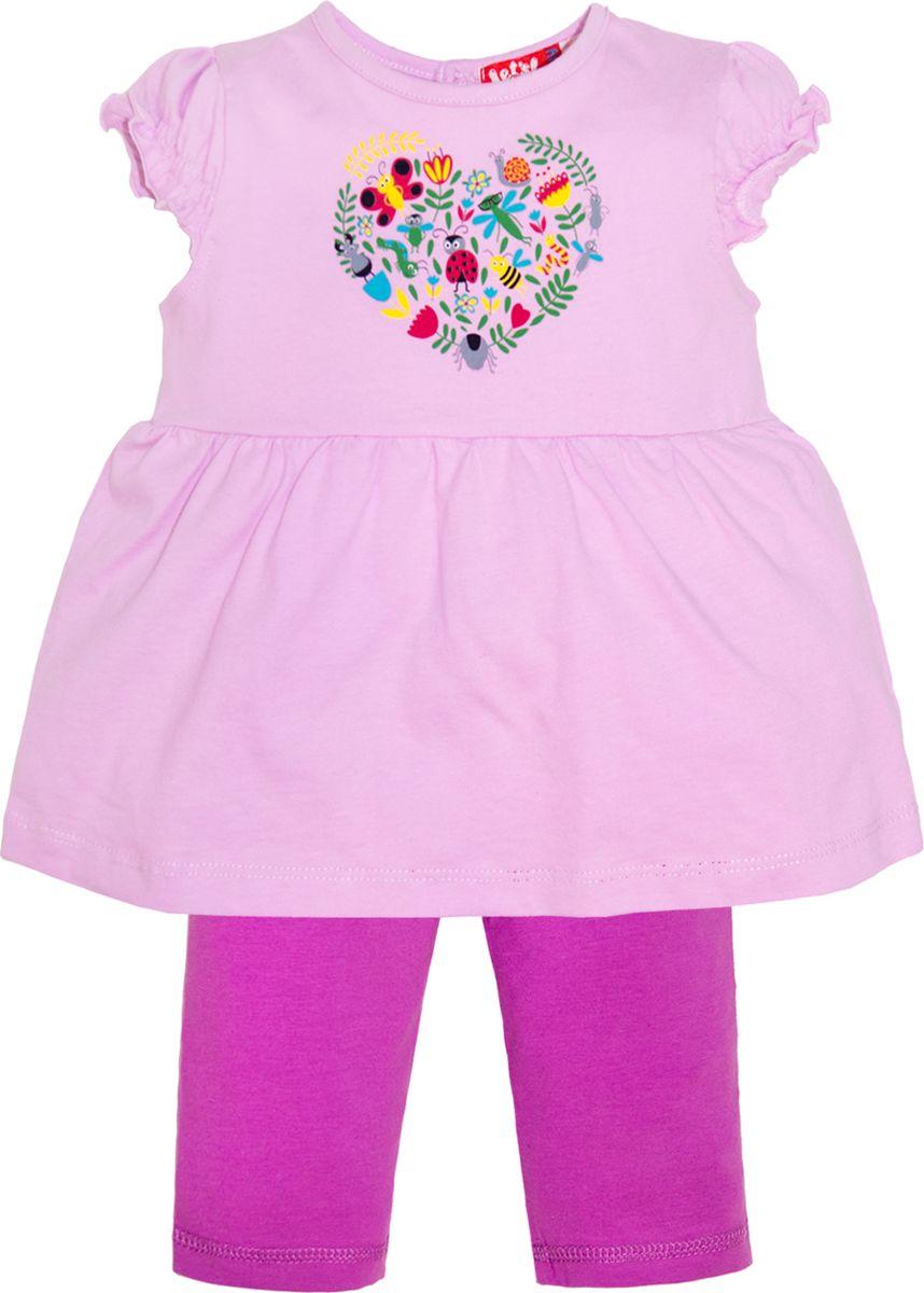 Комплект одежды для девочки Let's Go: футболка, бриджи, цвет: лиловый, фиолетовый. 4132. Размер 86 комплект одежды для девочки let s go футболка бриджи цвет лиловый фиолетовый 4132 размер 74