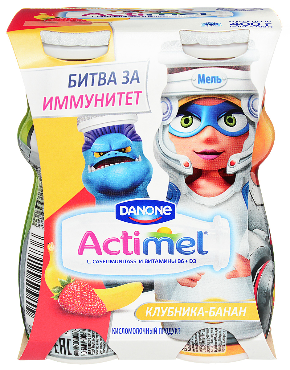 Актимель Продукт кисломолочный, Детский Клубника-банан 2,5%, 4 шт по 100 г актимель продукт кисломолочный 2 6