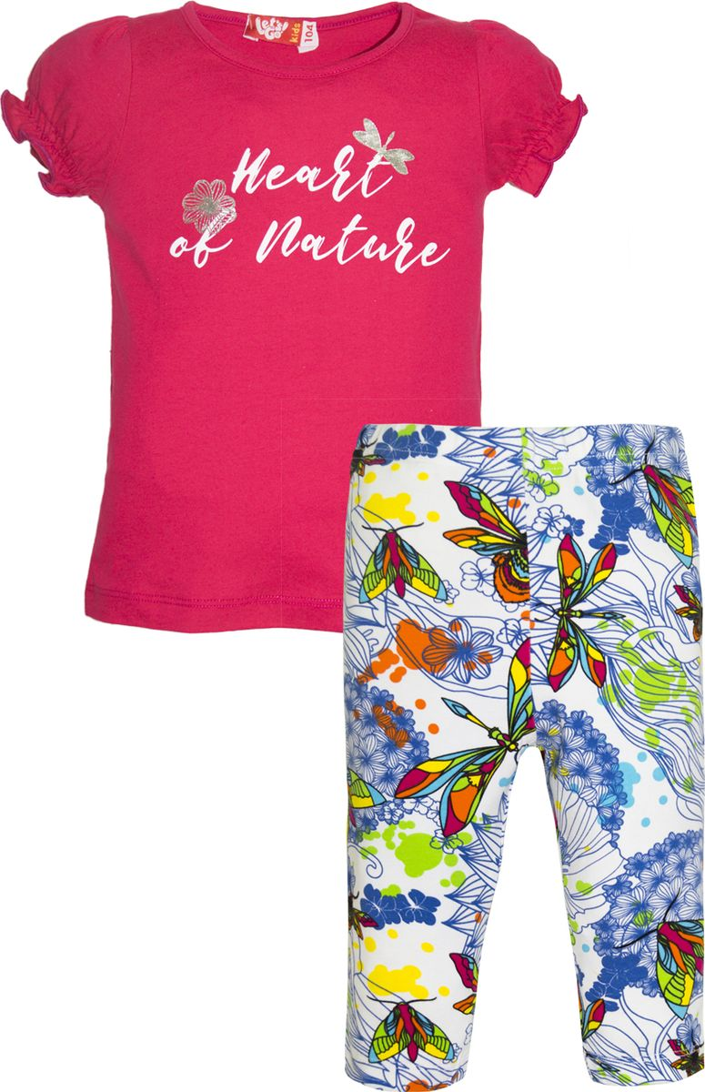 Комплект одежды для девочки Let's Go: футболка, бриджи, цвет: малиновый, белый. 4134. Размер 98 комплект одежды для девочки let s go футболка бриджи цвет лиловый фиолетовый 4132 размер 74