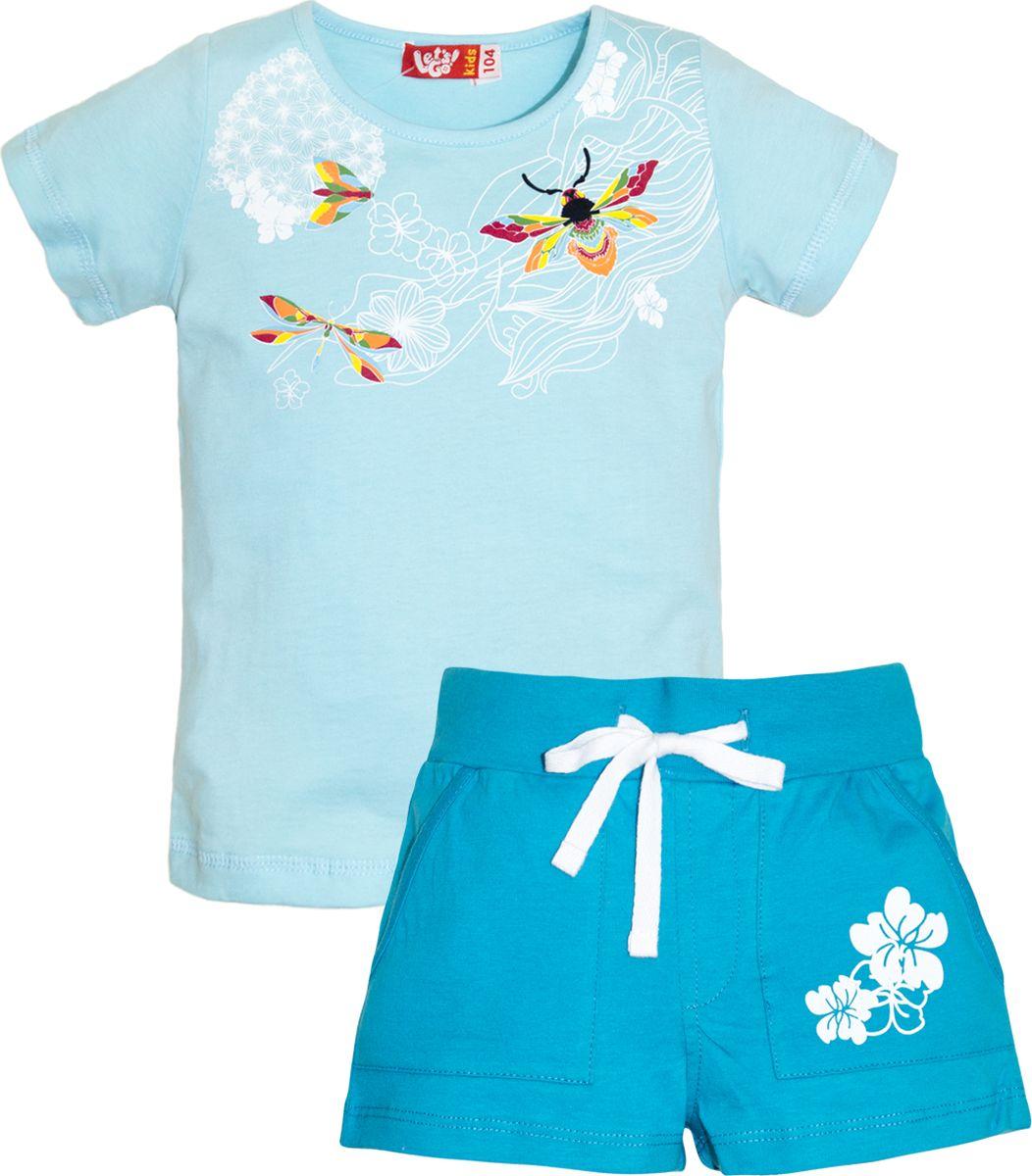 Комплект одежды для девочки Let's Go: футболка, шорты, цвет: голубой, бирюзовый. 4133. Размер 98 спортивный костюм для девочки let s go цвет бирюзовый 1118 размер 98