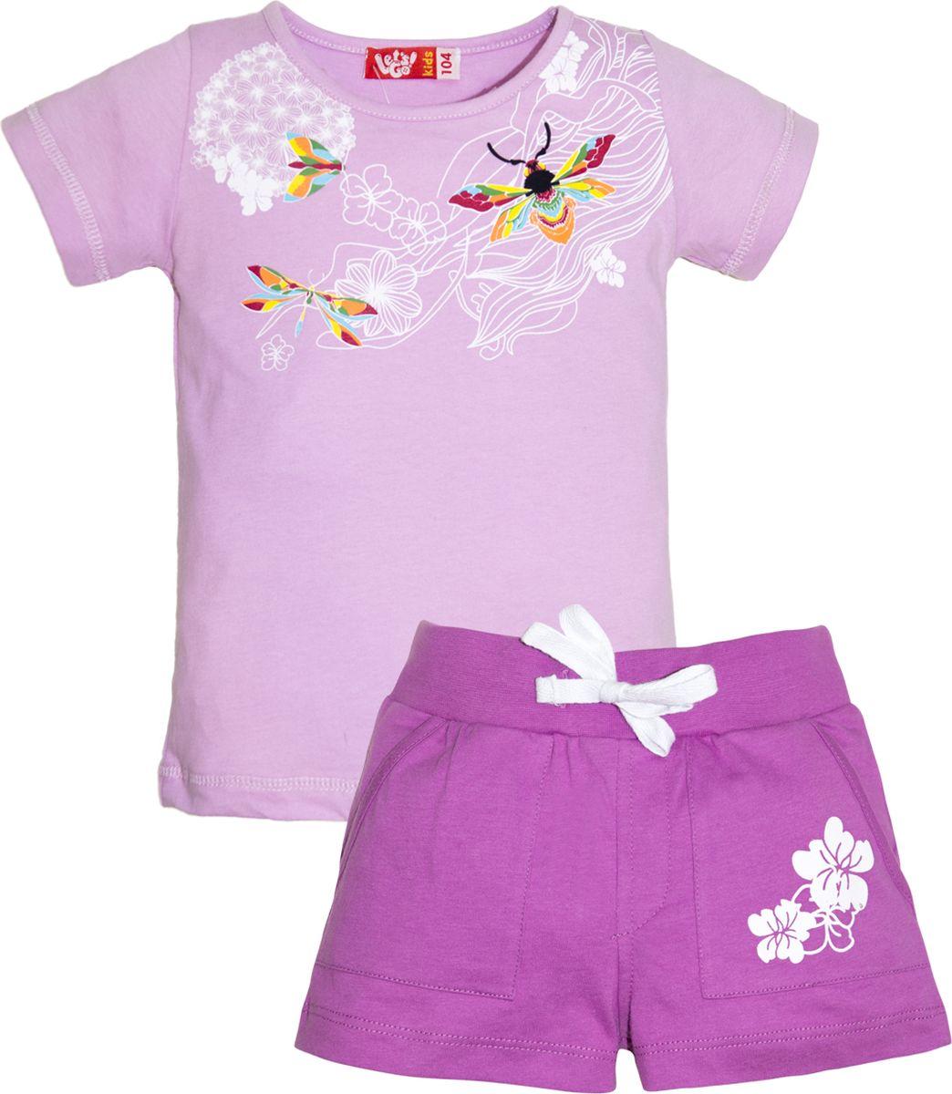Комплект одежды для девочки Let's Go: футболка, шорты, цвет: лиловый, сиреневый. 4133. Размер 98 комплект одежды для девочки let s go футболка бриджи цвет лиловый фиолетовый 4132 размер 74