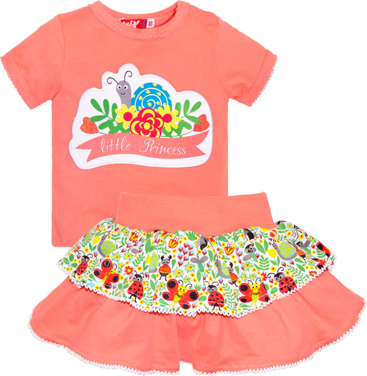 Комплект одежды для девочки Let's Go: футболка, юбка, цвет: розовый. 4131. Размер 86