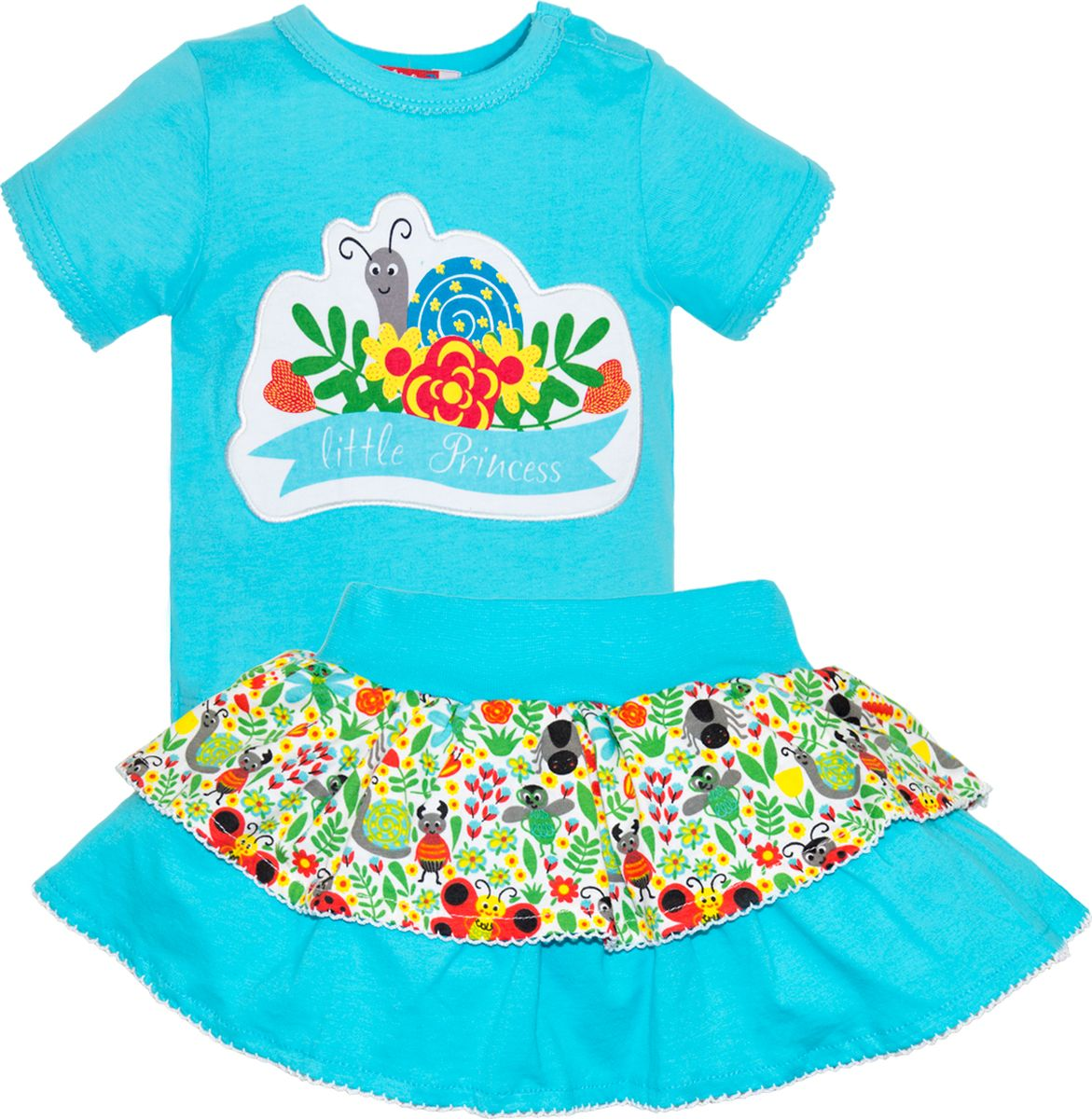 Комплект одежды для девочки Let's Go: футболка, юбка, цвет: светло-бирюзовый. 4131. Размер 86