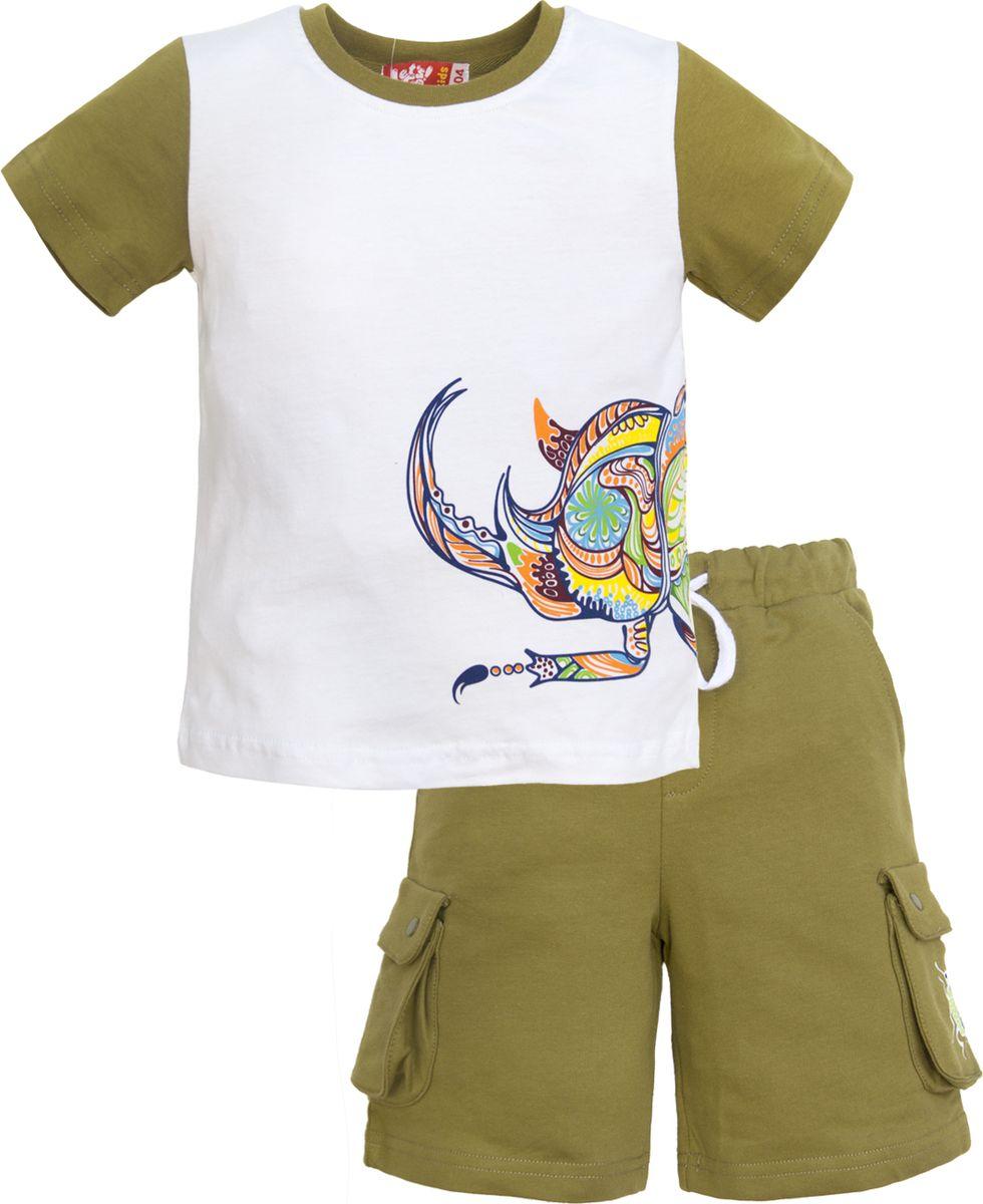 Комплект одежды для мальчика Let's Go: футболка, шорты, цвет: белый, оливковый. 4232. Размер 98 комплект одежды для мальчика let s go футболка шорты цвет горчичный оливковый 4231 размер 98