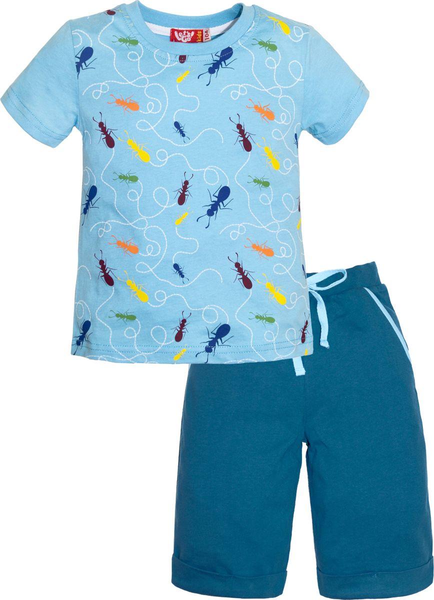 Комплект одежды для мальчика Lets Go: футболка, шорты, цвет: голубой, бирюзовый. 4230. Размер 1104230Комплект одежды для мальчика Lets Go состоит из шорт и футболки. Изготовленные из натурального хлопка, они необычайно мягкие и легкие. Удобные шорты на широком эластичном поясе и кулиске не сдавливают животик. Футболка с короткими рукавами оформлена принтом.