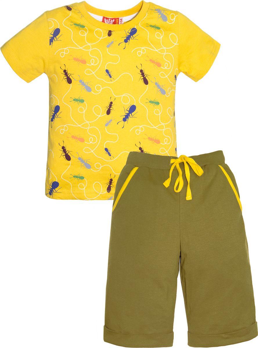 Комплект одежды для мальчика Let's Go: футболка, шорты, цвет: горчичный, оливковый. 4230. Размер 98 комплект одежды для мальчика let s go футболка шорты цвет горчичный оливковый 4231 размер 98