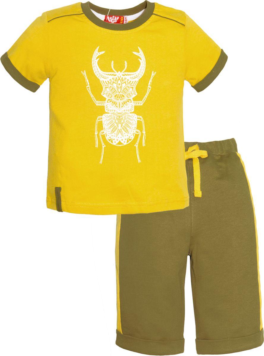 Комплект одежды для мальчика Lets Go: футболка, шорты, цвет: горчичный, оливковый. 4231. Размер 924231Комплект одежды для мальчика Lets Go состоит из шорт и футболки. Изготовленные из натурального хлопка, они необычайно мягкие и легкие. Удобные шорты на широком эластичном поясе и кулиске не сдавливают животик. Футболка с короткими рукавами оформлена принтом.