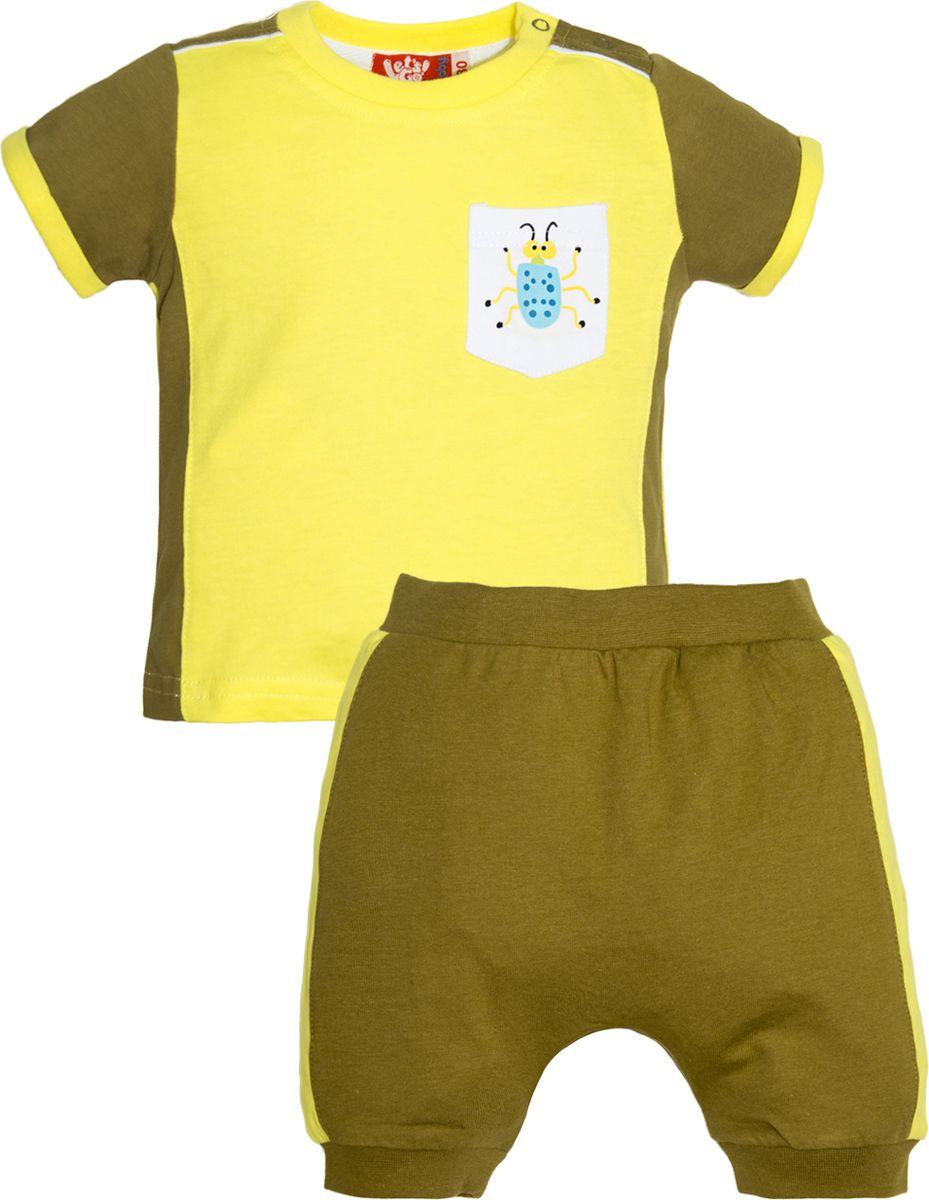 Комплект одежды для мальчика Let's Go: футболка, шорты, цвет: желтый, оливковый. 4227. Размер 86 комплект одежды для мальчика let s go футболка шорты цвет горчичный оливковый 4231 размер 98